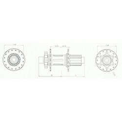 Moyeu HXR COMPONENTS Easy Shift Arrière 142/148x12 mm Shimano Bleu